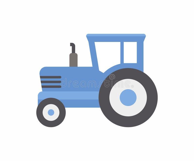 Голубая икона трактора Плоский стиль иллюстрация вектора