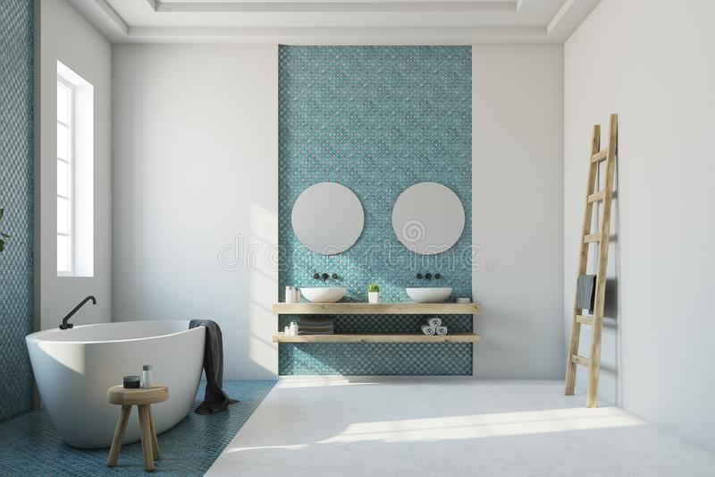 Голубая и белая ванная комната, белый ушат, раковина иллюстрация вектора