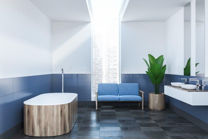 Голубая и белая ванная комната внутренняя, деревянный ушат бесплатная иллюстрация