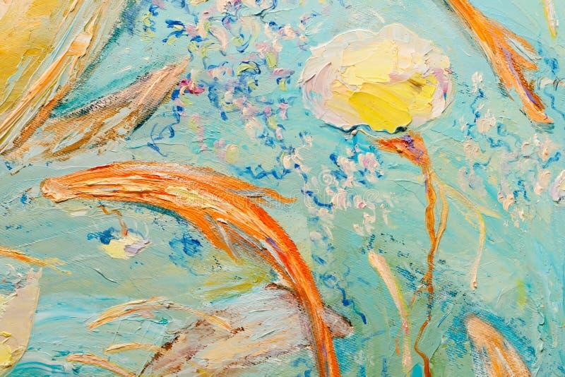 Голубая и желтая абстрактная картина маслом как предпосылка иллюстрация вектора