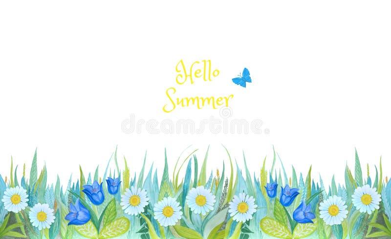 Голубая и зеленая трава с яркими цветками Заводы изолированные на белой предпосылке иллюстрация вектора