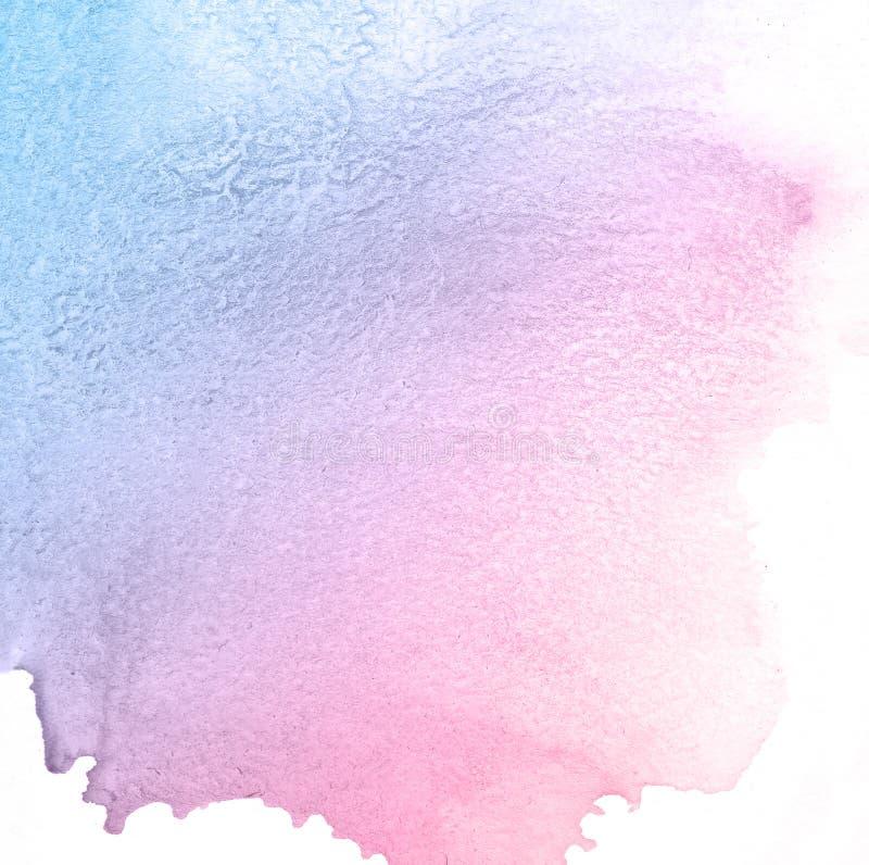 Голубая и пурпурная мягкая творческая предпосылка краски акварели текстуры, помечая буквами эскиз scrapbook иллюстрация вектора