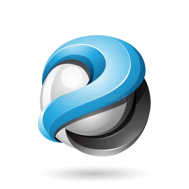 Голубая и черная смелая металлическая лоснистая сфера 3d изолированная на белой предпосылке иллюстрация штока