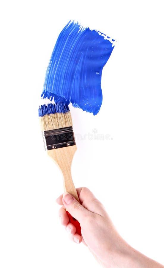 голубая картина краски щетки стоковые изображения