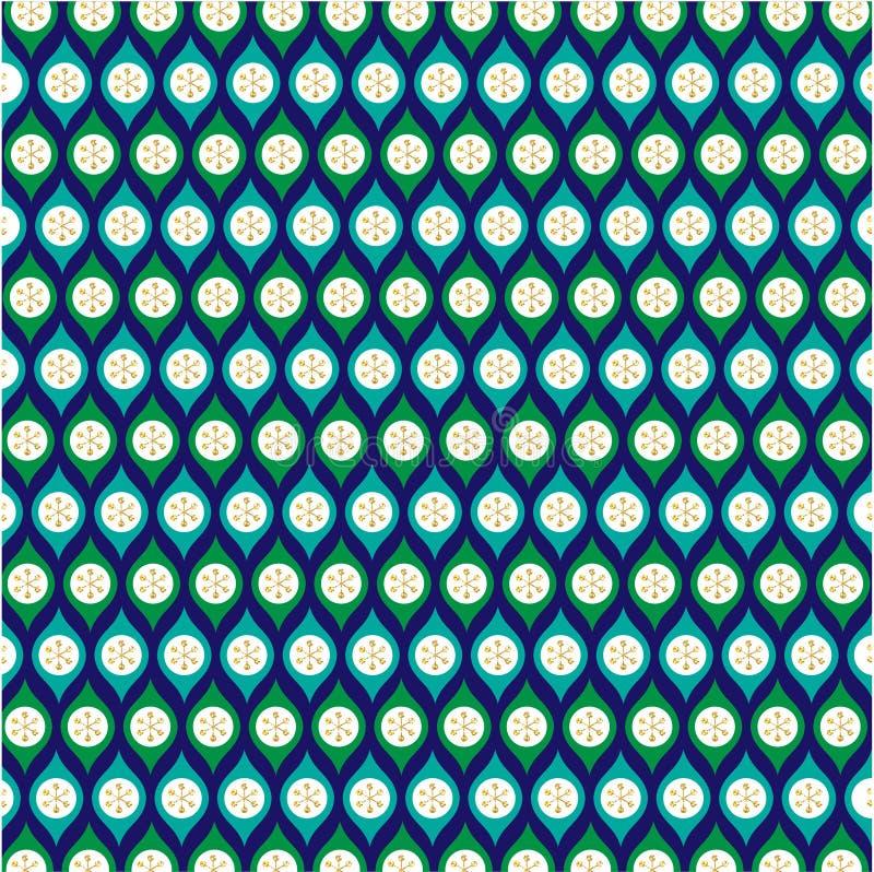 Голубая картина орнамента яркого блеска зеленого золота на сини бесплатная иллюстрация