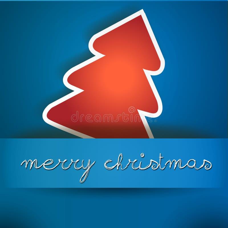 Голубая карточка с Рождеством Христовым с красным деревом бесплатная иллюстрация