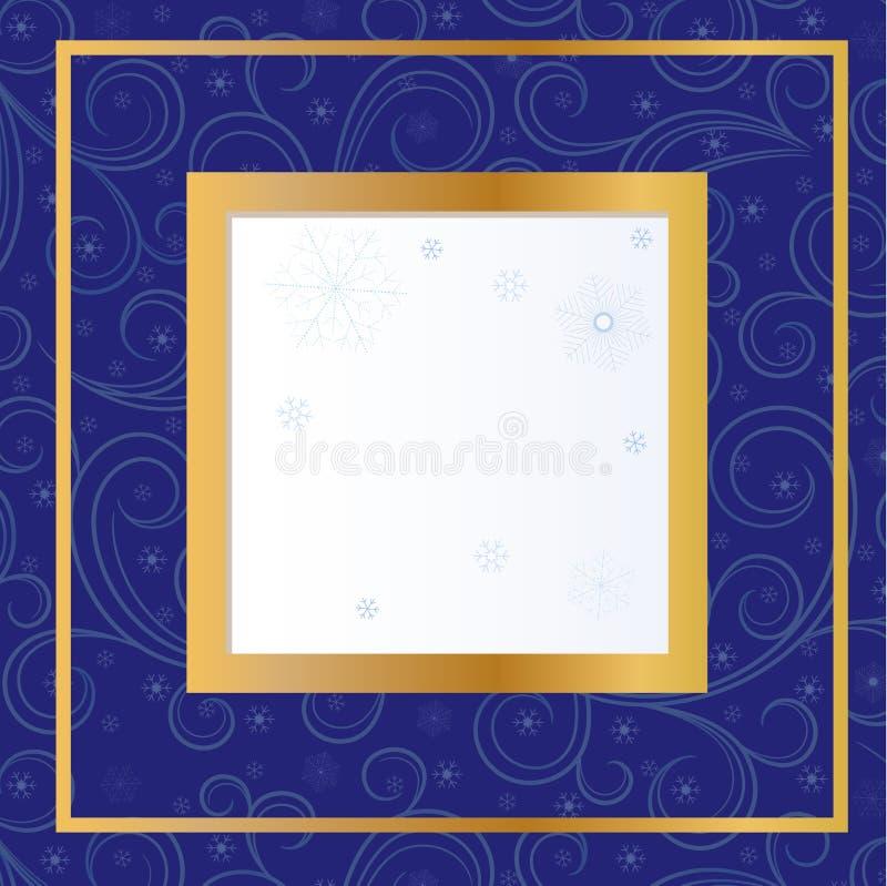 Голубая карточка с снежинками иллюстрация вектора