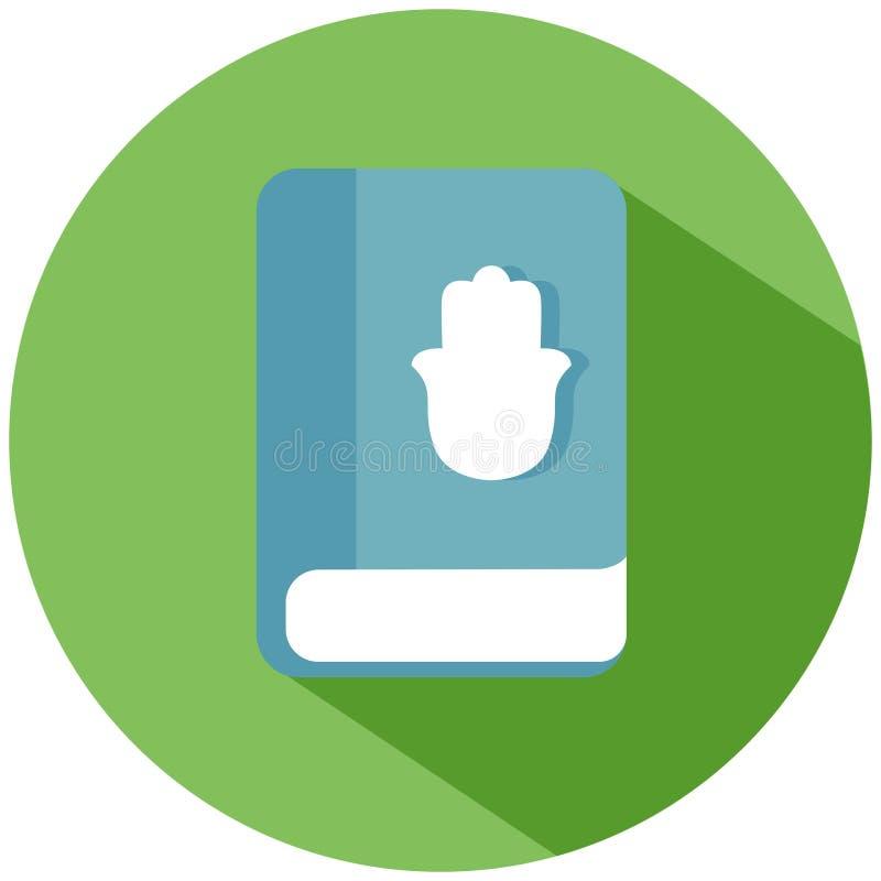 Голубая книга с рукой с пальцами в зеленом круге изолированном на белой предпосылке зацепляет икону бесплатная иллюстрация