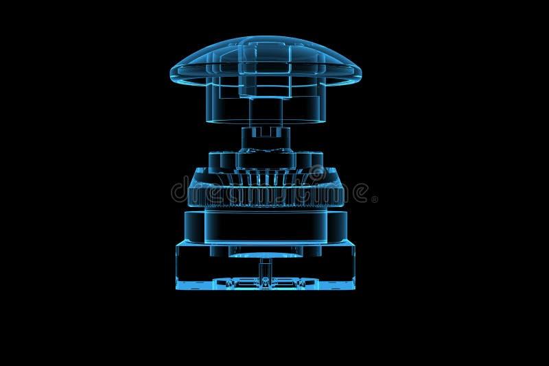 голубая кнопка 3d представила рентгеновский снимок иллюстрация вектора