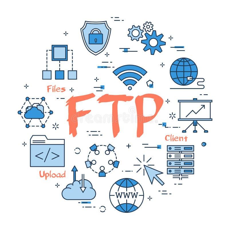 Голубая концепция FTP круга иллюстрация вектора