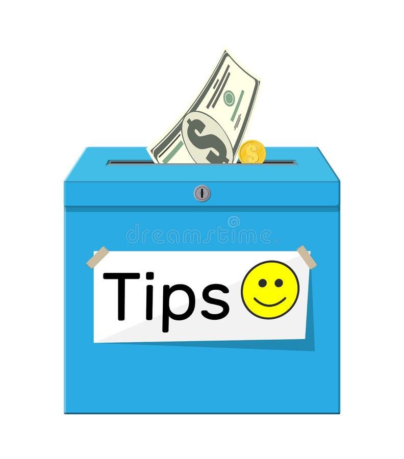 Голубая коробка подсказки вполне наличных денег бесплатная иллюстрация