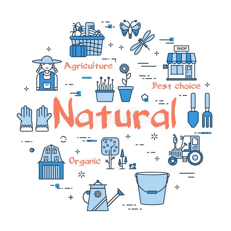 Голубая круглая естественная садовничая концепция бесплатная иллюстрация