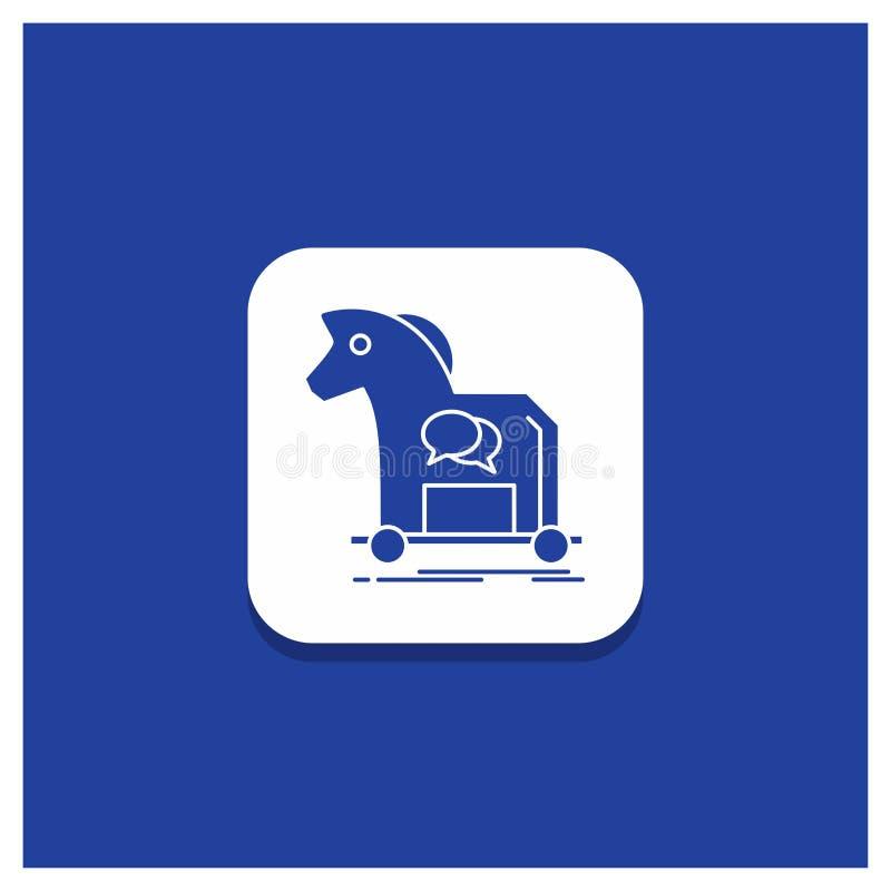 Голубая круглая кнопка для кибернетического преступления, лошадь, интернет, троянец, значок глифа вируса иллюстрация штока