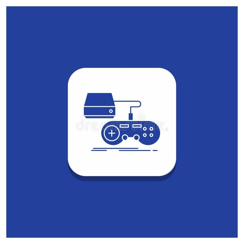 Голубая круглая кнопка для консоли, игры, игры, playstation, значка глифа игры иллюстрация штока