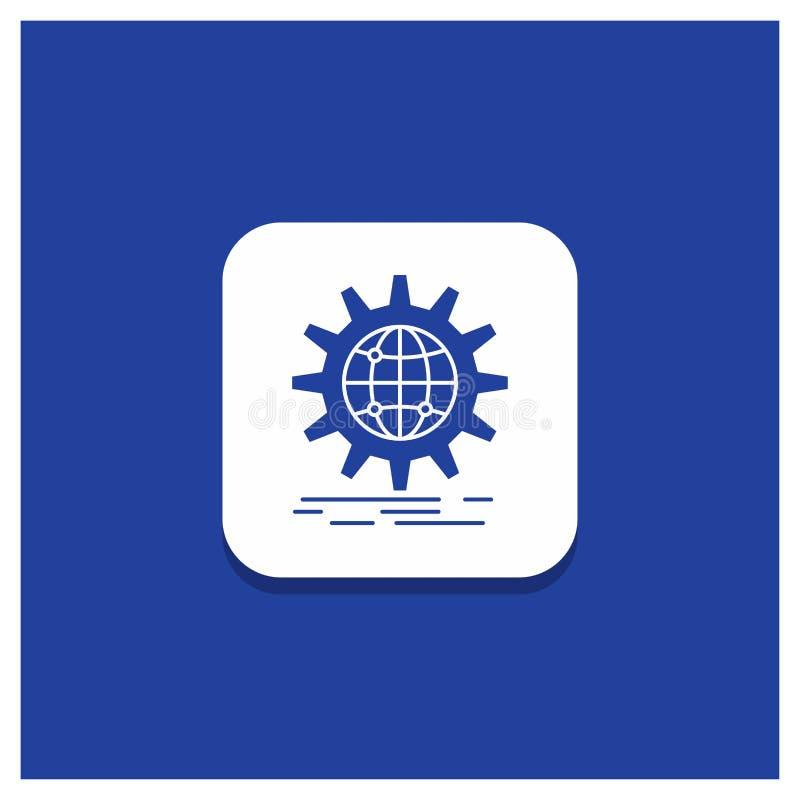 Голубая круглая кнопка для международного, дело, глобус, всемирный, значок глифа шестерни иллюстрация вектора