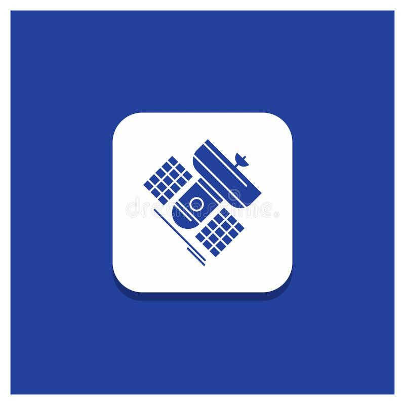 Голубая круглая кнопка для передачи, широковещания, сообщения, спутника, значка глифа радиосвязи бесплатная иллюстрация