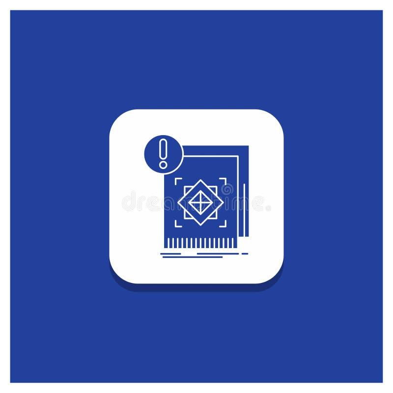 Голубая круглая кнопка для структуры, стандарта, инфраструктуры, информации, бдительного значка глифа бесплатная иллюстрация