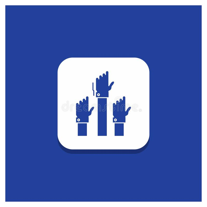 Голубая круглая кнопка для устремленности, дела, желания, работника, умышленного значка глифа иллюстрация вектора