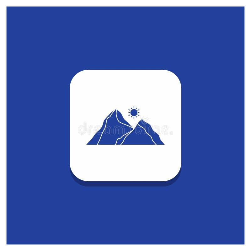 Голубая круглая кнопка для холма, ландшафта, природы, горы, значка глифа сцены иллюстрация штока