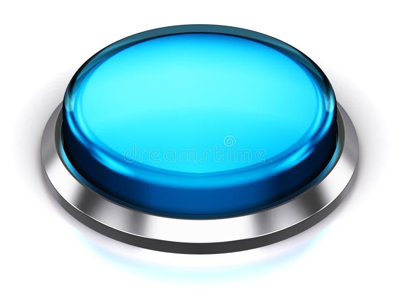 Голубая круглая кнопка иллюстрация вектора
