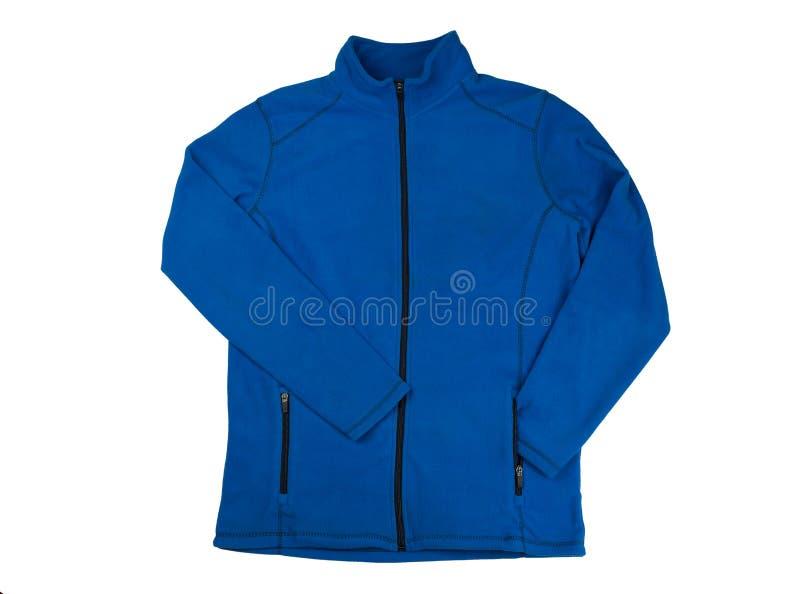 Голубая куртка ватки Изолят на белизне стоковое изображение rf