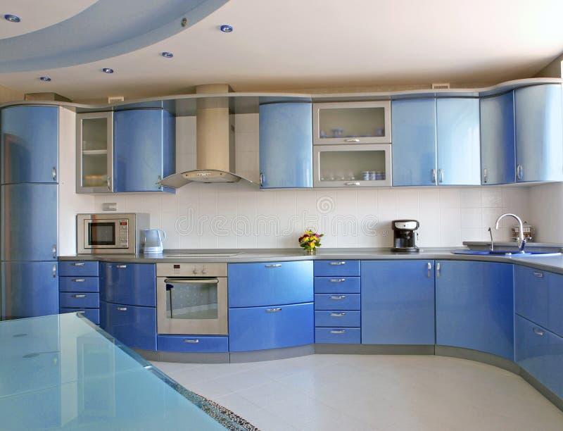 голубая кухня стоковое изображение