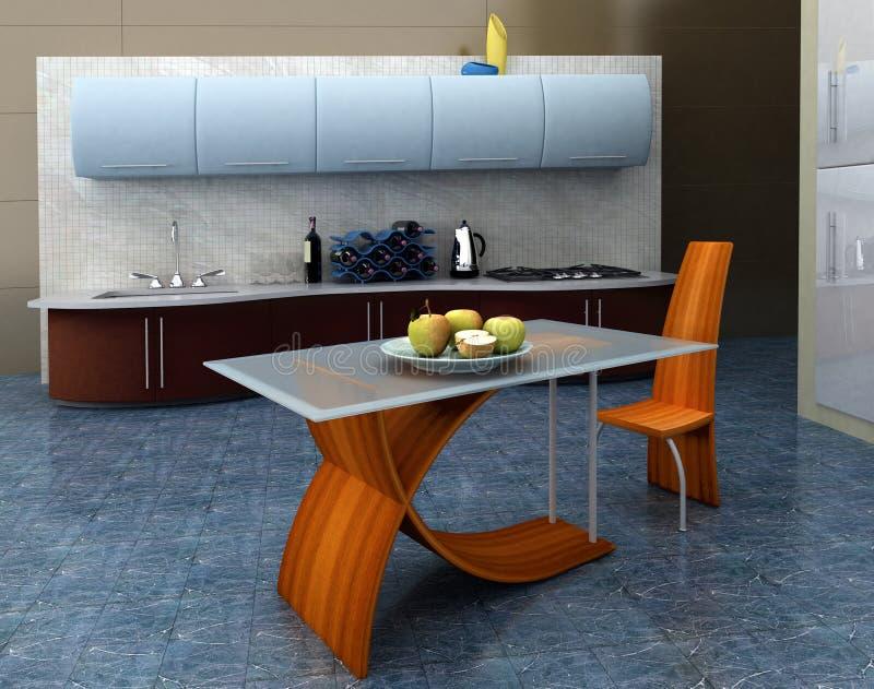 голубая кухня иллюстрация штока