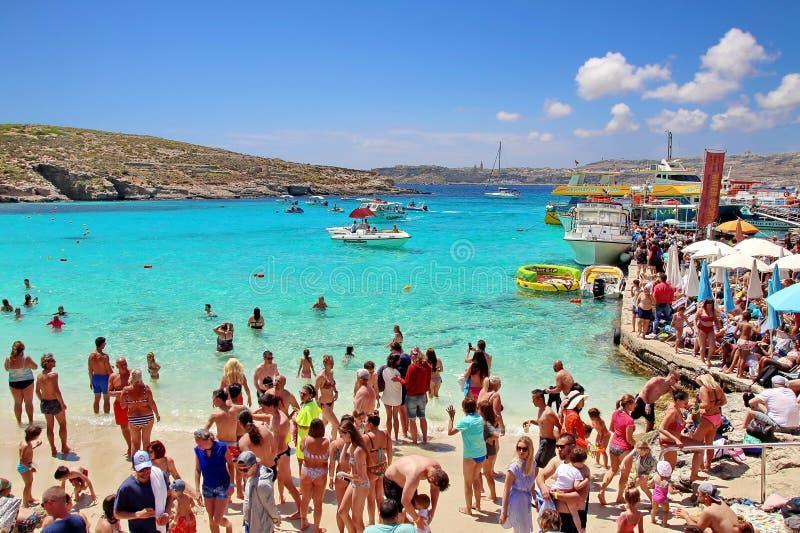 Голубая лагуна на острове Comino, Мальте стоковое изображение rf