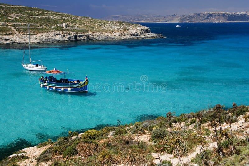голубая лагуна malta острова comino стоковые изображения rf