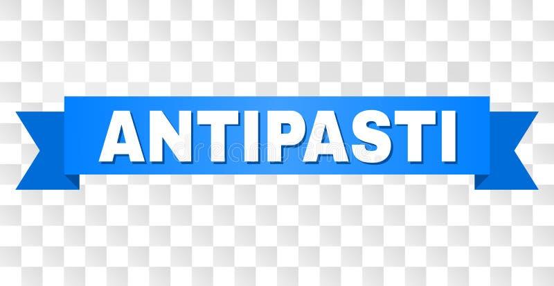 Голубая лента с титром ANTIPASTI иллюстрация штока