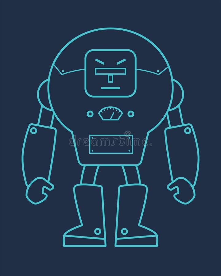 Голубая линия иллюстрация робота иллюстрация штока