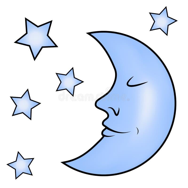 Голубая луна и звезды иллюстрация штока