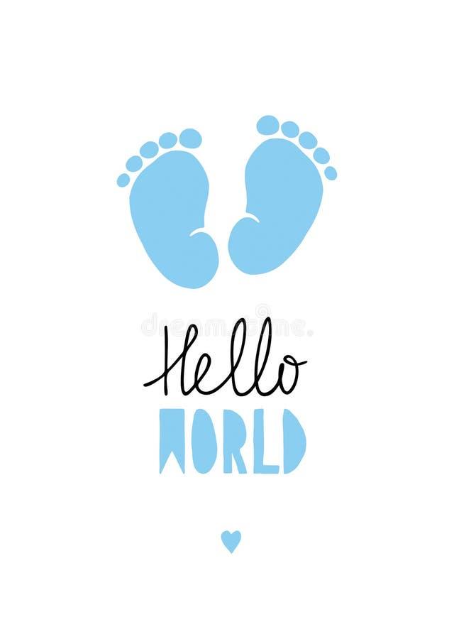 Голубая маленькая иллюстрация вектора ног младенца иллюстрация вектора