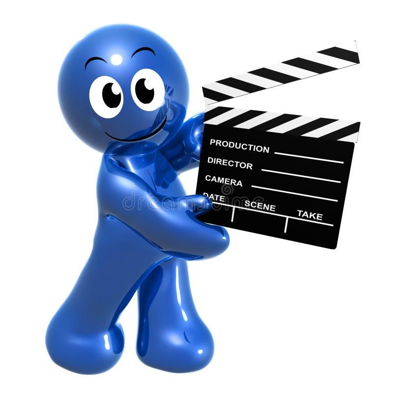 Голубая маленькая смешная икона директора иллюстрация вектора