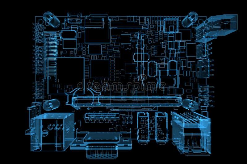 голубая материнская плата компьютера 3d представила рентгеновский снимок иллюстрация штока