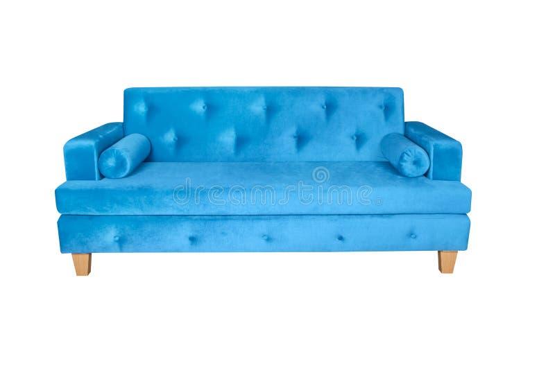 Голубая мебель софы взгляда лицевой стороны изолированная на белой пр стоковое изображение rf