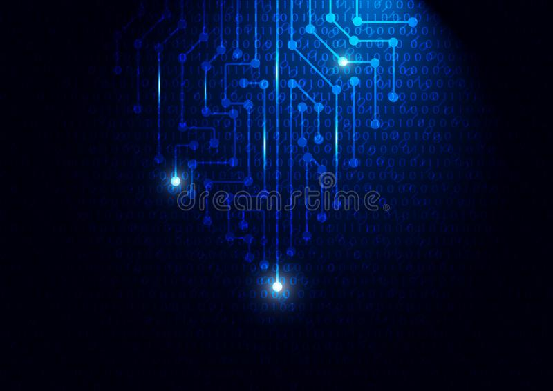 Голубая монтажная плата с бинарным кодом, концепцией технологии иллюстрация вектора