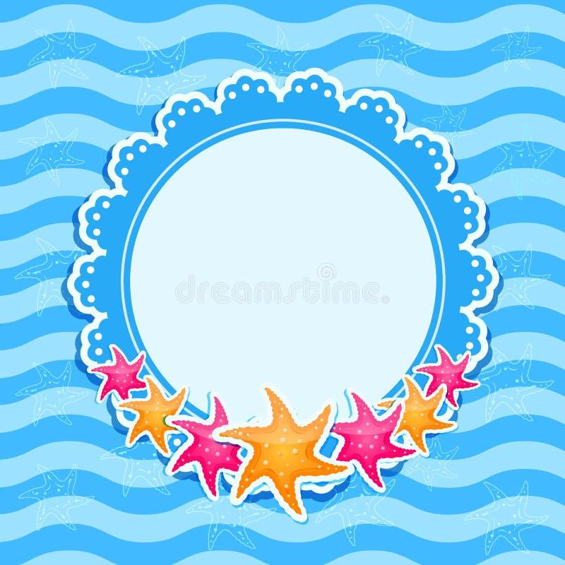 Голубая морская карточка приглашения с яркими Starfishes бесплатная иллюстрация