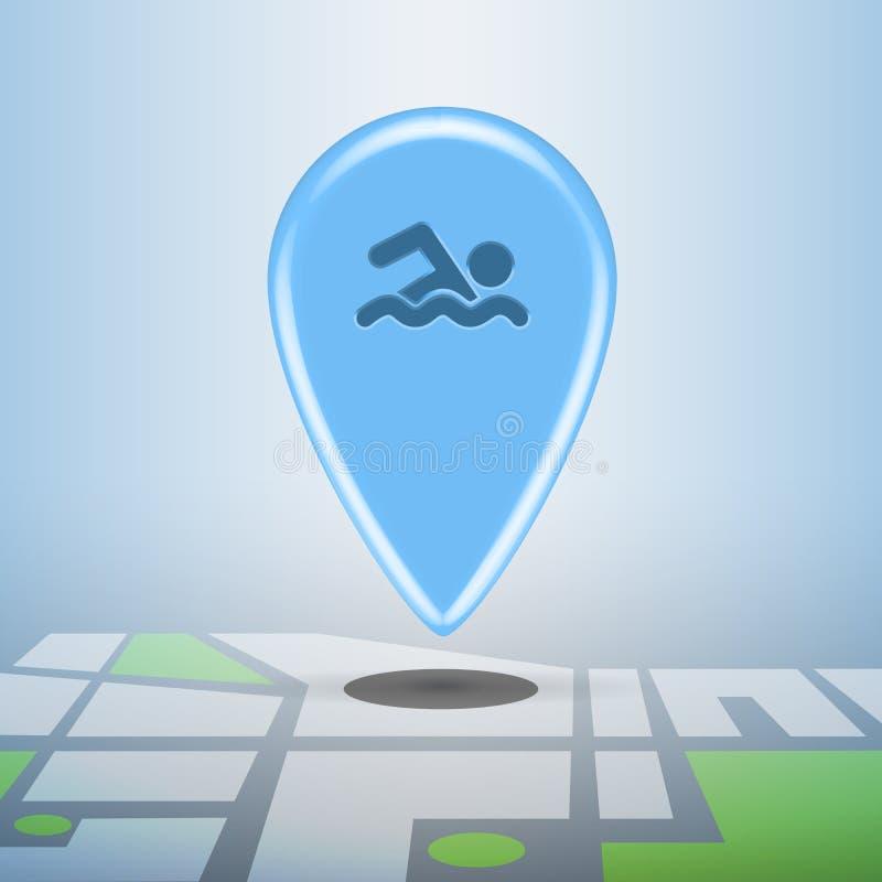 Голубая навигация резвится штырь иллюстрация вектора
