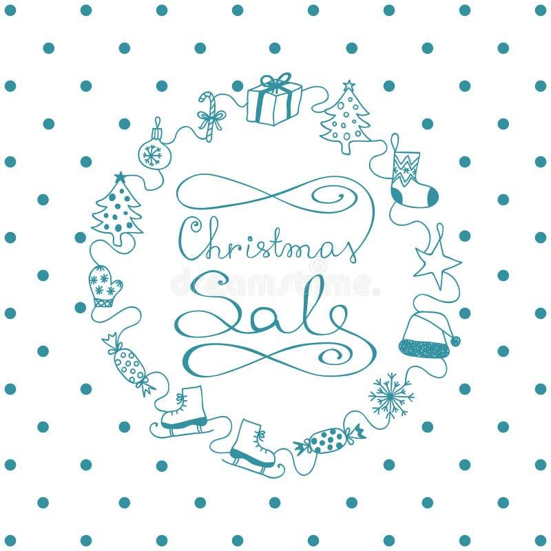 Голубая нарисованная вручную продажа рождества знамени иллюстрация штока