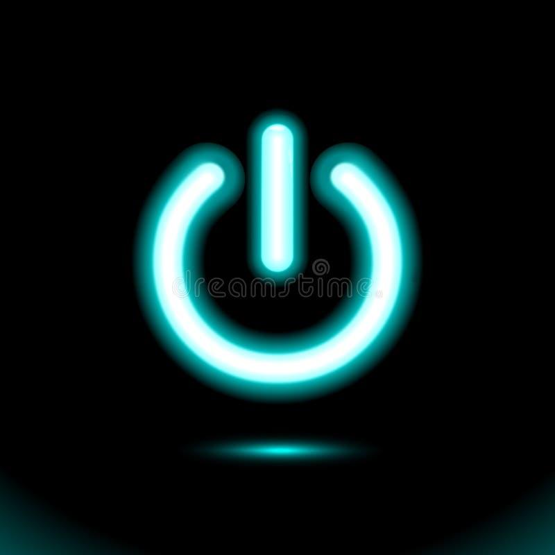 Голубая неоновая лампа, знак, свет кнопки, включено-выключено переключатель, значок Начало, символ силы для дизайна на черной пре иллюстрация вектора