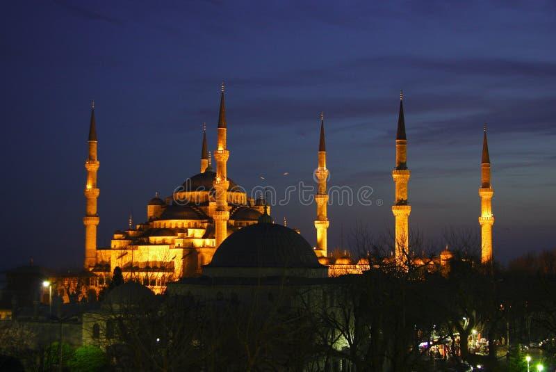 голубая ноча мечети стоковое изображение