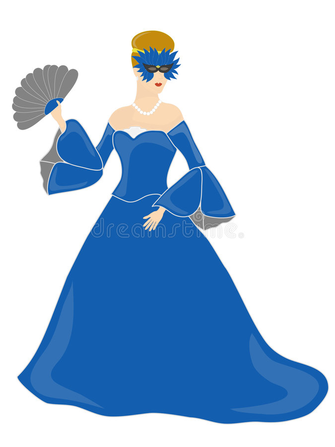 голубая одетьнная замаскированная женщина иллюстрация вектора