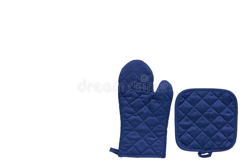 Голубая перчатка кухни, предохранение от жары и безопасность стоковые изображения