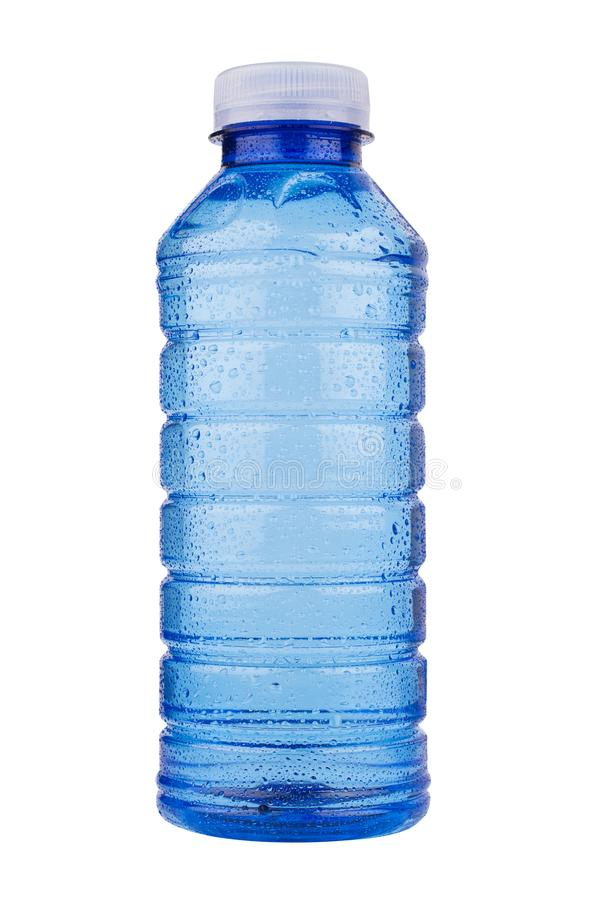 Голубая пластичная бутылка с водой витамина на белой предпосылке стоковое фото rf