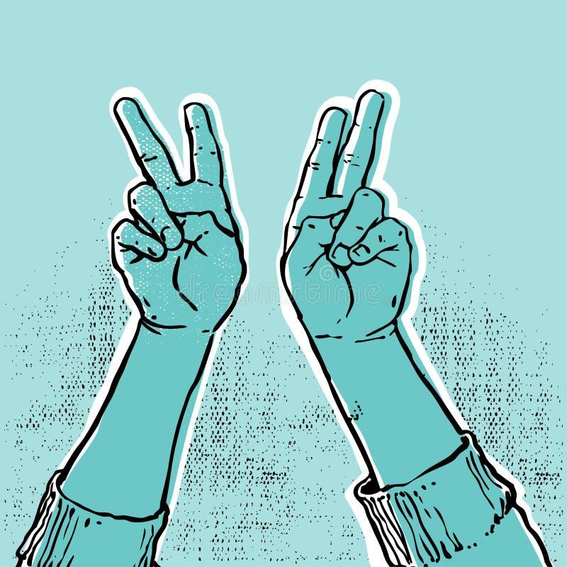 голубая победа руки бесплатная иллюстрация