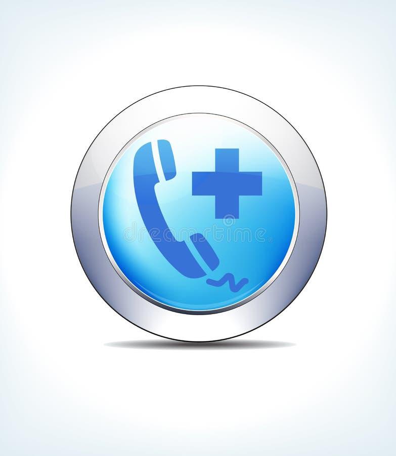 Голубая помощь телефонного звонка кнопки значка, медицинская помощь, здравоохранение иллюстрация вектора
