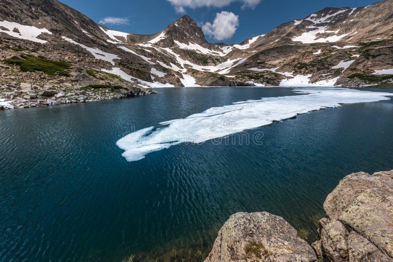 Голубая пошлина Mt озера на ландшафте Колорадо захода солнца красивом стоковая фотография