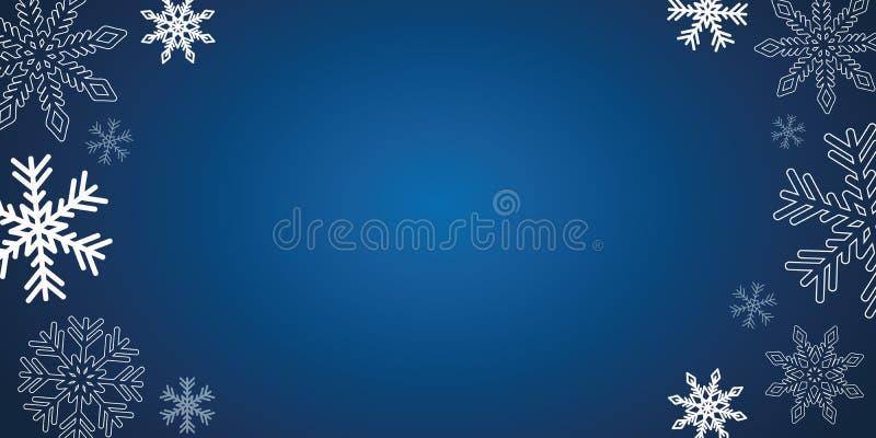 Голубая предпосылка зимы рождества с белыми снежинками бесплатная иллюстрация