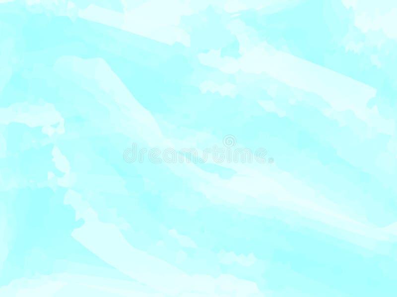 Голубая предпосылка конспекта акварели Облака, небо, волны моря Покрасьте картину также вектор иллюстрации притяжки corel 10 eps иллюстрация вектора